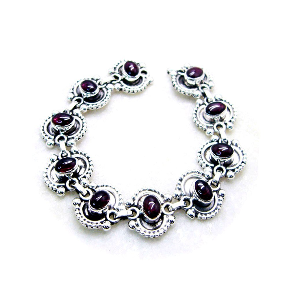 Jewelryonclick Natural Garnet 925 Solid Silver Bracelet For Women Chakra Healing Gemstone Style Asrological L 6.5-8 Inch