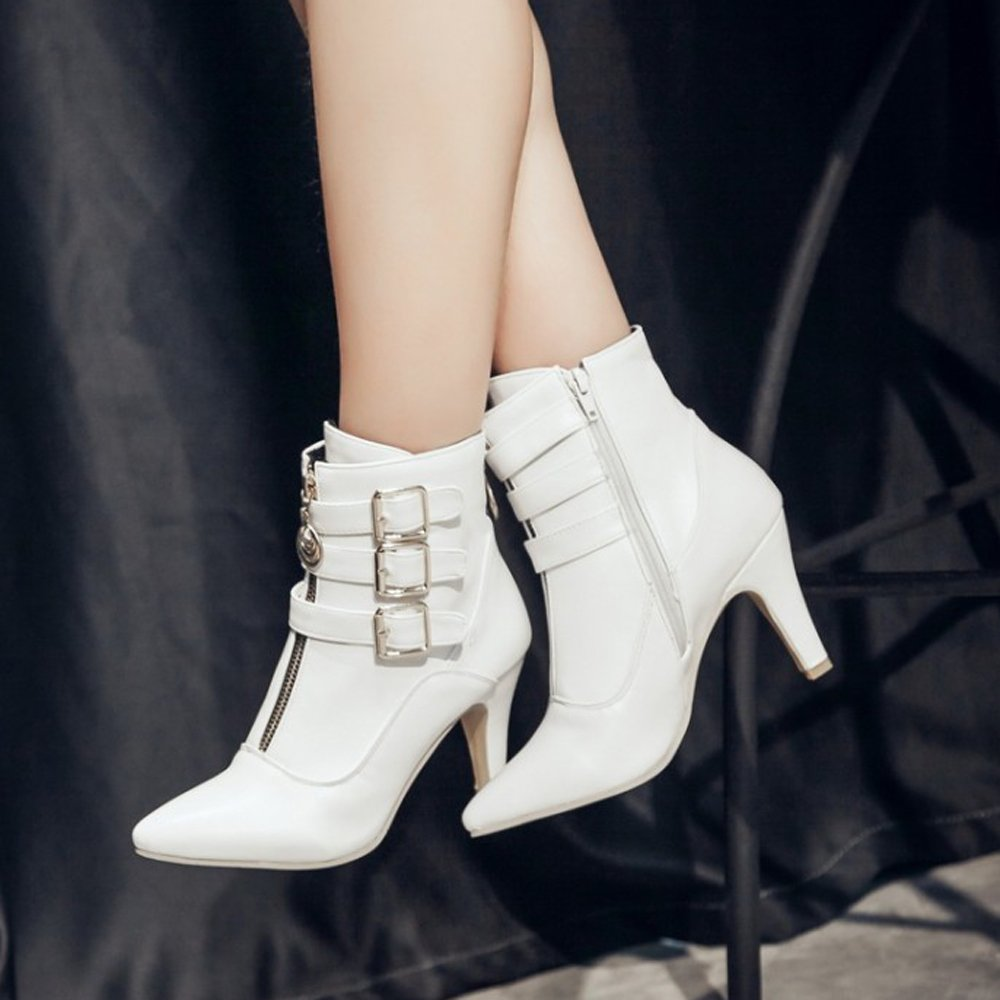 Meotina Women Ankle Boots High Heels Buckle Pointed B(M) Toe Shoes B077NCMFKF 8.5 B(M) Pointed US|White f098d9