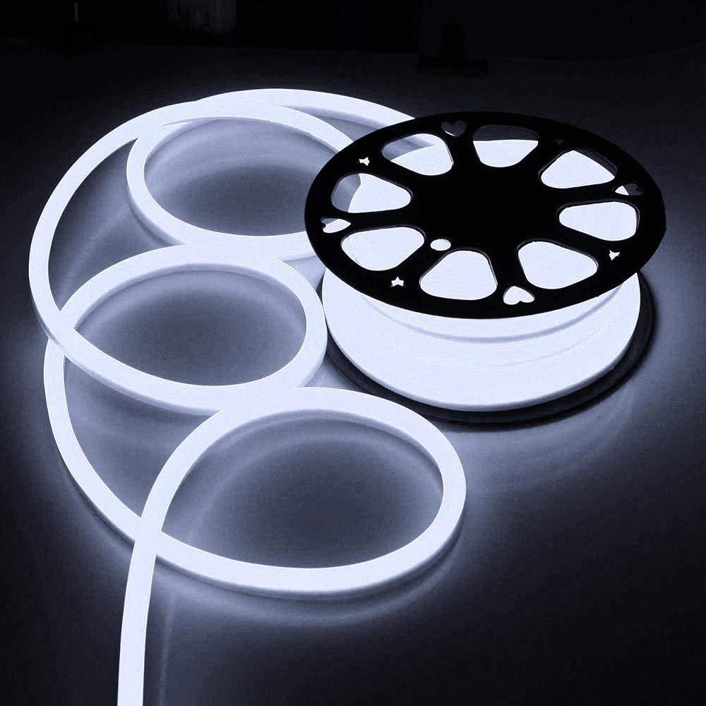 50ft/100ft 110V Flex LED Neon Rope Light Outdoor Halloween Christmas Home Party Bar Store Decor Lighting Cool White (50ft (15meters))