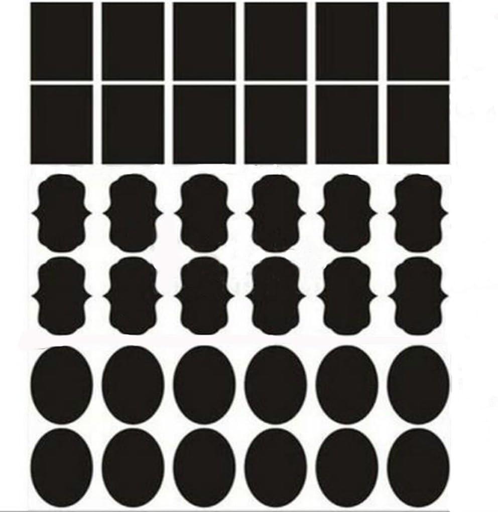 Megrocle 72Pcs Chalkboard Labels Bundle Waterproof Adhesive Blackboard Label Stickers for Storage Bins, Mason Jars, Baskets, Spice Jars, Canisters, Cups, Food, Wine Glass