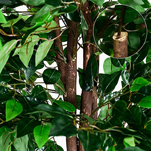 Woooow 6Ft Artificial Ficus Tree Silk Tree Fake Plant in Pot Decorative Trees for Home Kitchen Office Living Room Decor 6