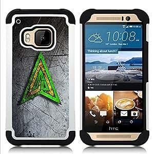 For HTC ONE M9 - Green Yellow Triangle Dual Layer caso de Shell HUELGA Impacto pata de cabra con im??genes gr??ficas Steam - Funny Shop -
