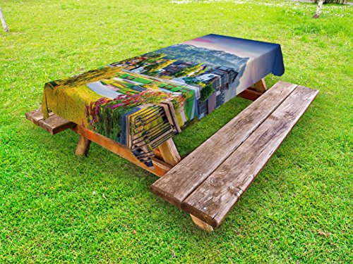 Lunarable Landscape Outdoor Tablecloth, Small Village in Austria Summer Flowers Trees Alps Morning Mist Idyllic Scenery, Decorative Washable Picnic Table Cloth, 58 X 84 Inches, - Dinner Summer Mist