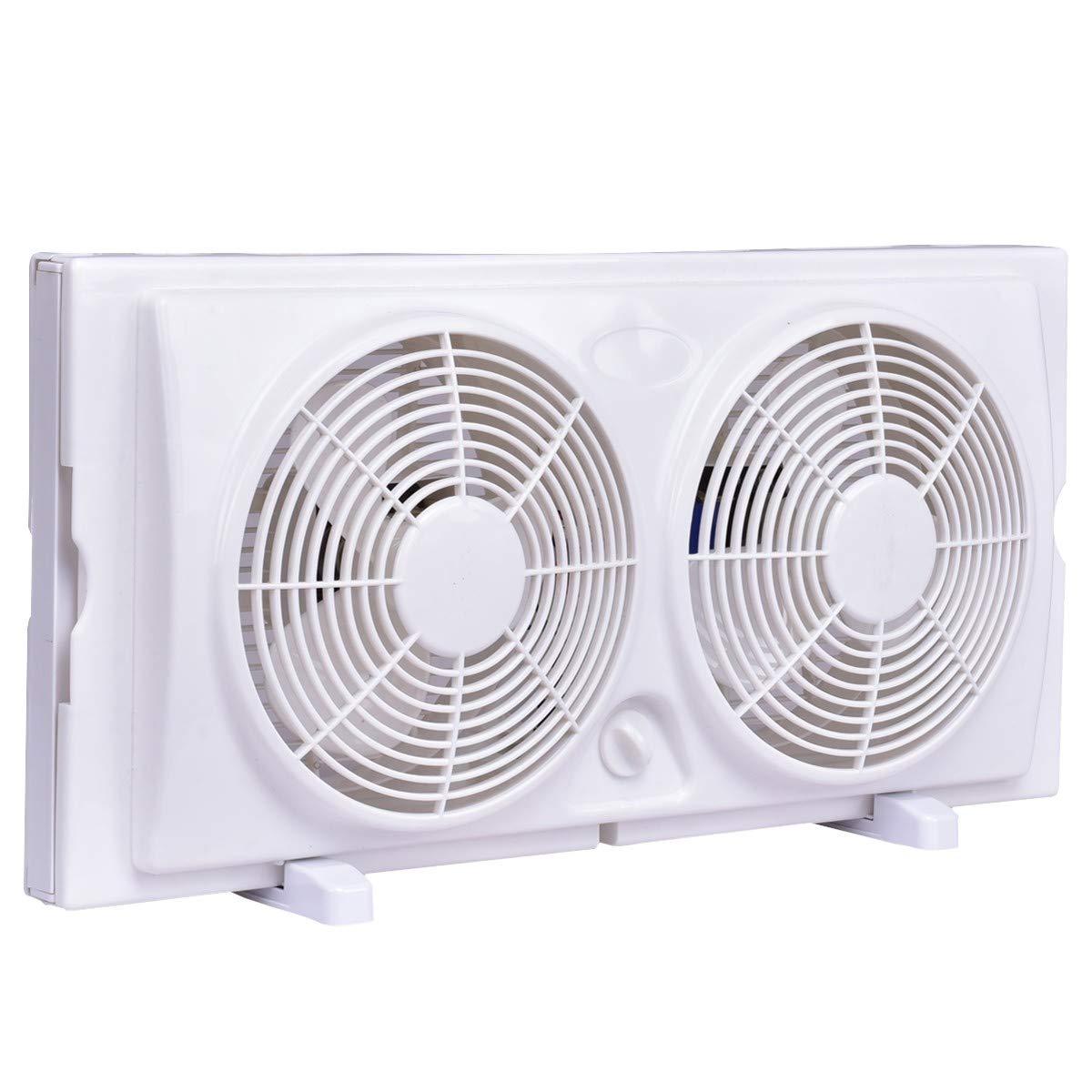 Imtinanz Modern Style 7 2-Speed Reversible Dual Window/Floor Fan
