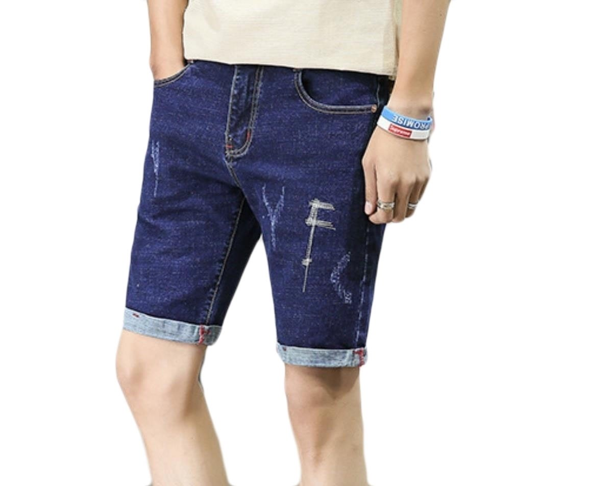 Doufine Men Simplicity All-Match Slim Fitting Crimping Cozy Jean Shorts Blue 36