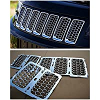 Nicebee Silver 3D Mesh Racing Grille Insert Prevent Bug Dirt Grill ABS Chrome For Jeep Grand Cherokee 2014-2016