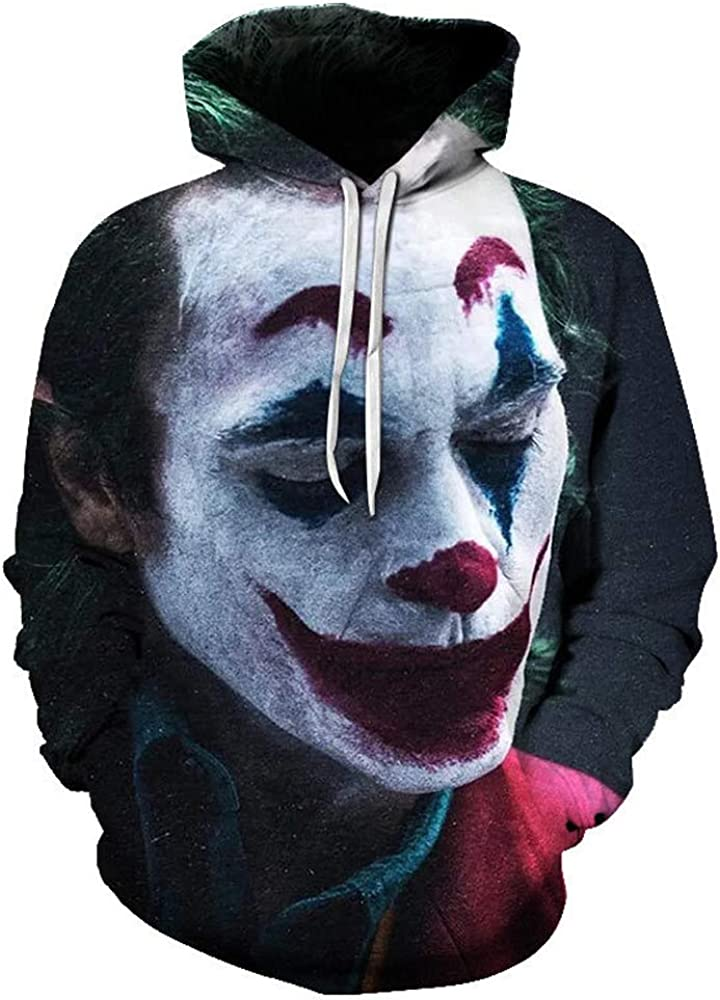 Mens Hoodie Funny Realistic 3D Printed Drawstring Clown Hooded Pullover Daily Sweatshirts with Kangaroo Pocket