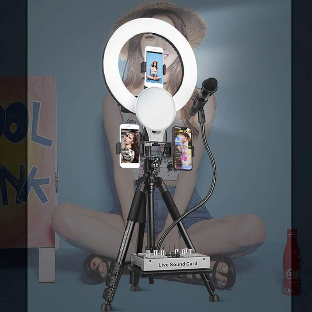 Mini Led Camera Ring Light for YouTube Video//Photography Compatible with iPhone Xs Max Xr Android JION 14-Inch Self-Timer Ring Light with Tripod Stand and Phone Holder for Live//Makeup