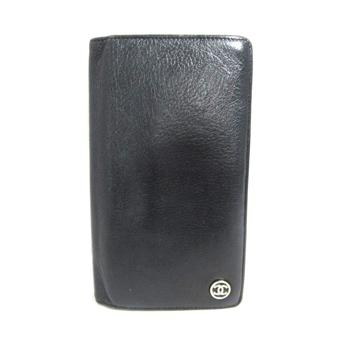 [シャネル] CHANEL ZIP長財布 二つ折り長財布 長財布 ブラック(金具:シルバー) レザー [中古]   B07QLMXJS8