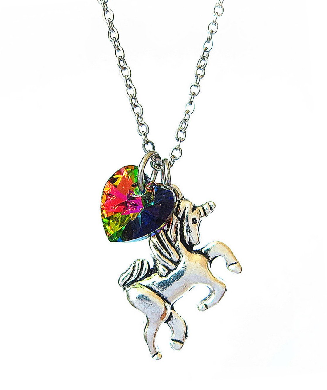 Girl Gift Unicorn Necklace with Rainbow Color Heart Crystal,Rainbow Unicorn Necklace,Fairy Tale Necklace, Fantasy Necklace, Animal Necklace 5