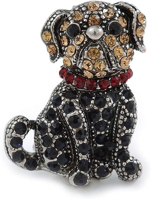 Enamel Dalmatian Dog Brooch 35mm Gold Plated Crystal