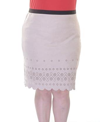 12aa5dc898 Karen Kane Women's Scallop Faux Suede Skirt Khaki Skirt at Amazon ...