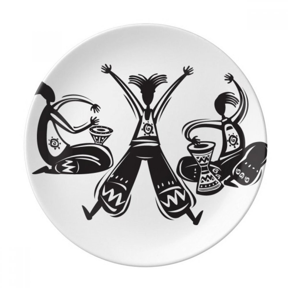 Dance Celebrate Mexico Totems Tambourine Dessert Plate Decorative Porcelain 8 inch Dinner Home
