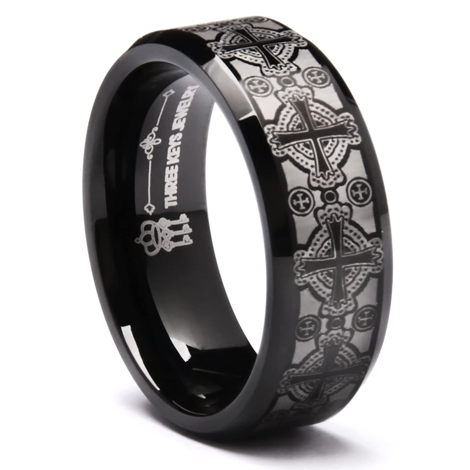 Three Keys 8mm Laser Engraved Celtic Crosses Tungsten Ring Black Beveled  Edge Men's Wedding Band Ring