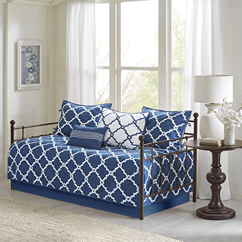 Madison Park Essentials Merritt Daybed Size Quilt Bedding Set - Navy, Geometric - 6 Piece Bedding Quilt Coverlets - Ultra Soft Microfiber Bed Quilts Quilted Coverlet
