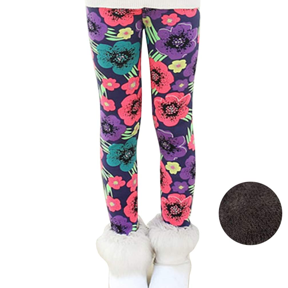 Bjinxn Girls Winter Thick Warm Long Pants Printing Fleece Lined Leggings 140 Tricolor