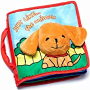 CLOTH BOOK Baby Soft Books for Newborn Babies, 1 Year Old & Toddler, Educational Toy for Boy & Girl, Touch and Feel Activity, Crinkle Peekaboo, Gift Box, Interactive Baby Shower Gifts, Washable Fabric