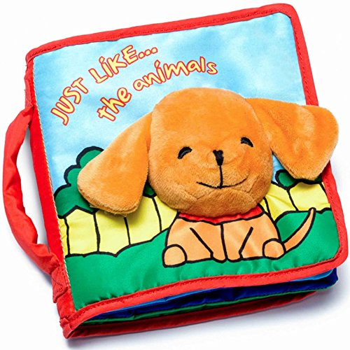 CLOTH BOOK Baby Soft Books for Newborn Babies, 1 Year Old & Toddler, Educational Toy for Boy & Girl, Touch and Feel Activity, Crinkle Peekaboo, Gift Box, Interactive Baby Shower Gifts, Washable Fabric - Animals Cloth Books