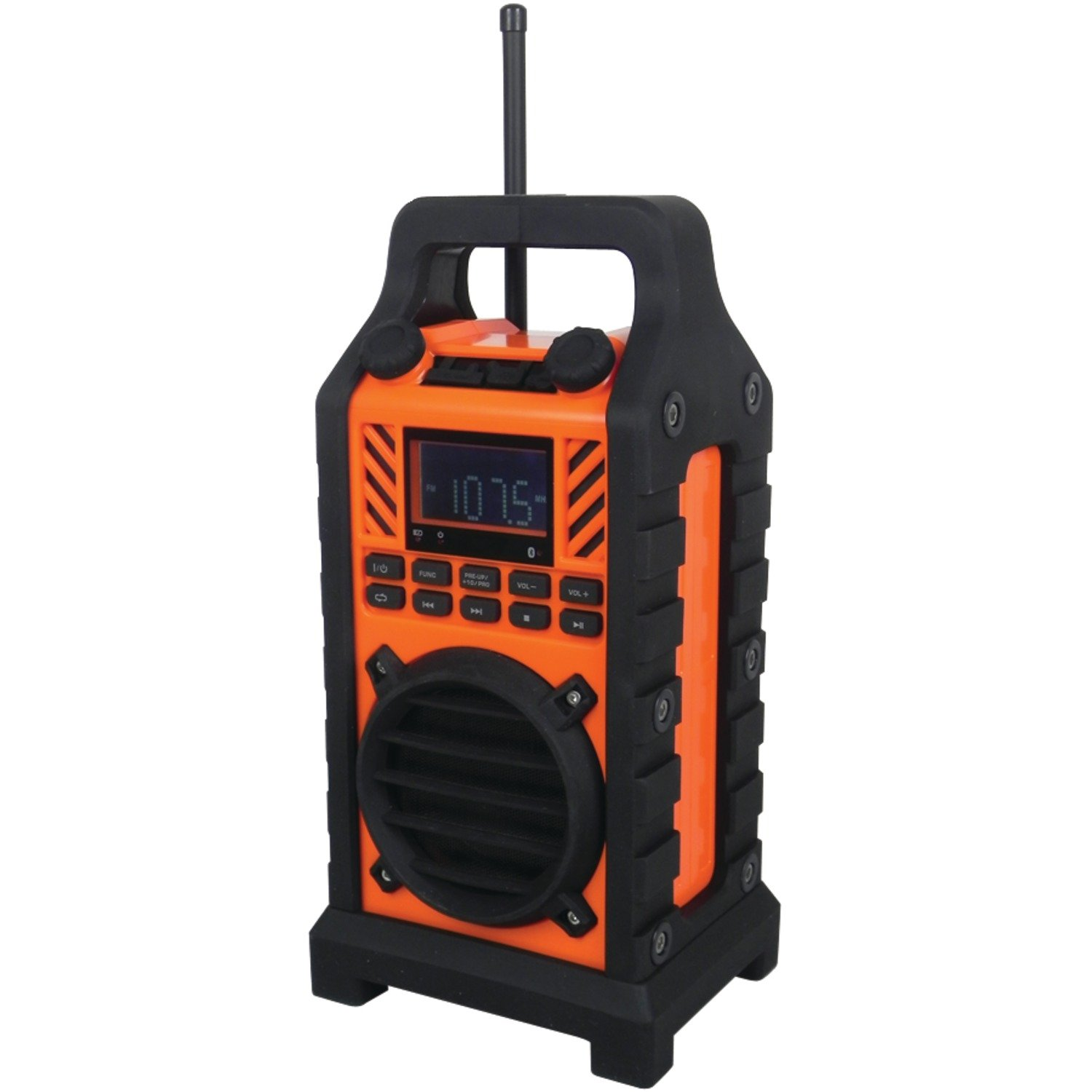 Sylvania SP303-Orange Heavy Duty Rugged Bluetooth Portable Speaker with FM Radio, USB/SD Reader and Charging, Orange