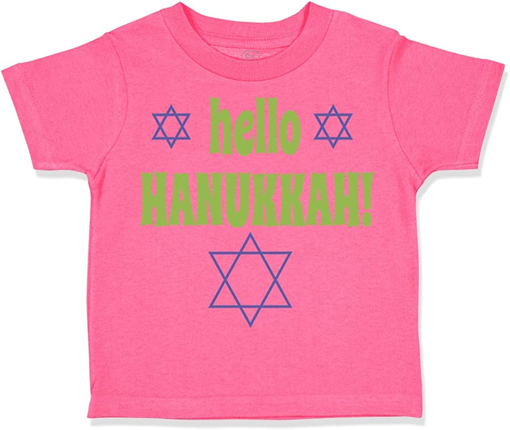Custom Toddler T-Shirt Hello Hanukkah Jewish Cotton Boy /& Girl Clothes