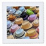 3dRose Danita Delimont - Markets - Spain, Balearic Islands, Palma de Mallorca, hats for sale at market. - 12x12 inch quilt square (qs_277906_4)