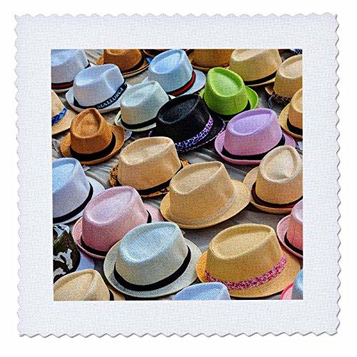 3dRose Danita Delimont - Markets - Spain, Balearic Islands, Palma de Mallorca, hats for sale at market. - 12x12 inch quilt square (qs_277906_4) by 3dRose