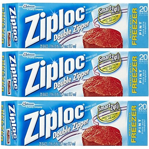 Ziploc COMIN16JU007548 AC1436 Pack of 3, Pint, 20-Count ()