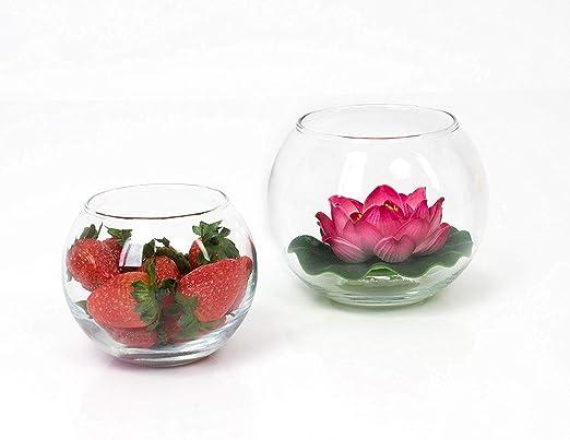 INNA Glas Jarrón Redondo - Maceta Decorativa Tobi, Transparente, 8 cm, Ø 9,5 cm - Recipiente de Cristal/Portavelas: Amazon.es: Hogar