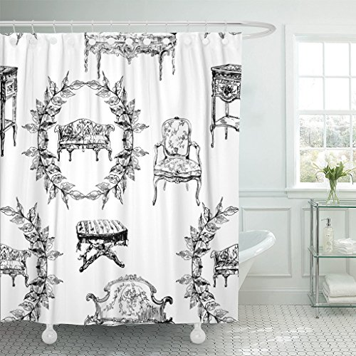 Black White Toile Curtains - TOMPOP Shower Curtain Toile Pattern Furniture from Rococo Abstract Sketch Ancient Architecture Waterproof Polyester Fabric 60 x 72 Inches Set with Hooks
