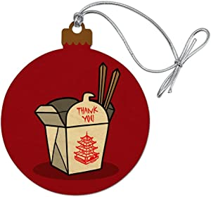 GRAPHICS & MORE Chinese Food Takeout Box with Chopsticks Wood Christmas Tree Holiday Ornament