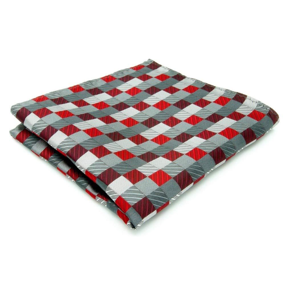 Shlax&Wing Checked Gray Grey Silver Red Crimson Handkerchief Mens Ties MH2