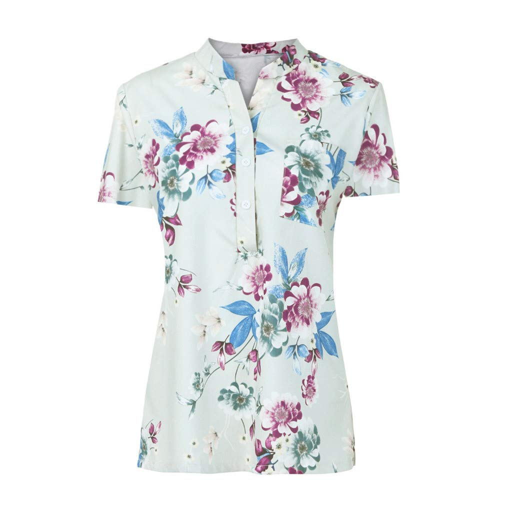 CofeeMO Lightweight Short Sleeve Women's Tops Blouses,Summer Flowy Floral Printed Button Loose Polo Collar T-Shirts(Green,M)