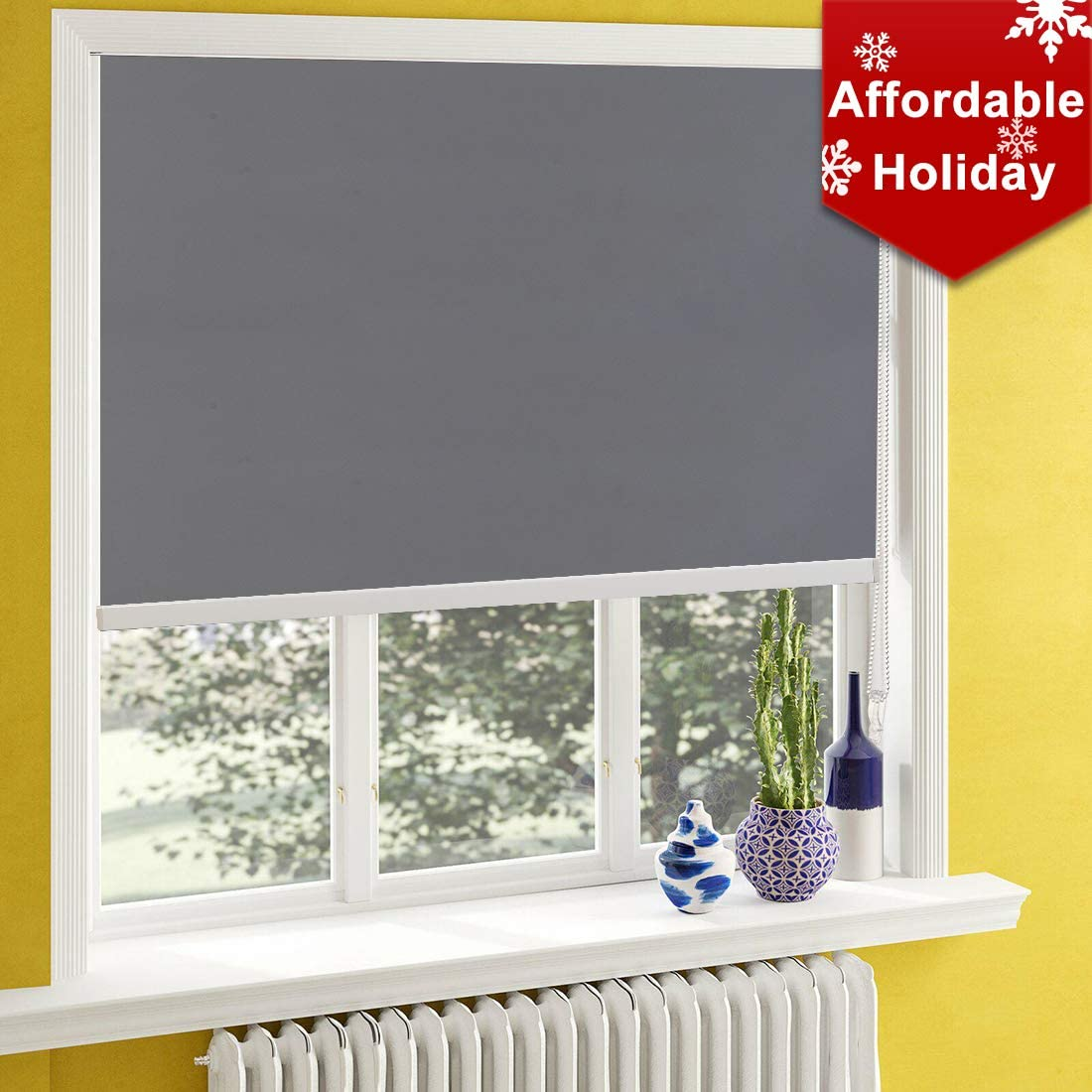 Keego Window Shades Black Out for Bedroom Room Darkening Roller Shades with Back in White Waterproof and Oil Resistant for Privacy Nursery and Kitchens Customer