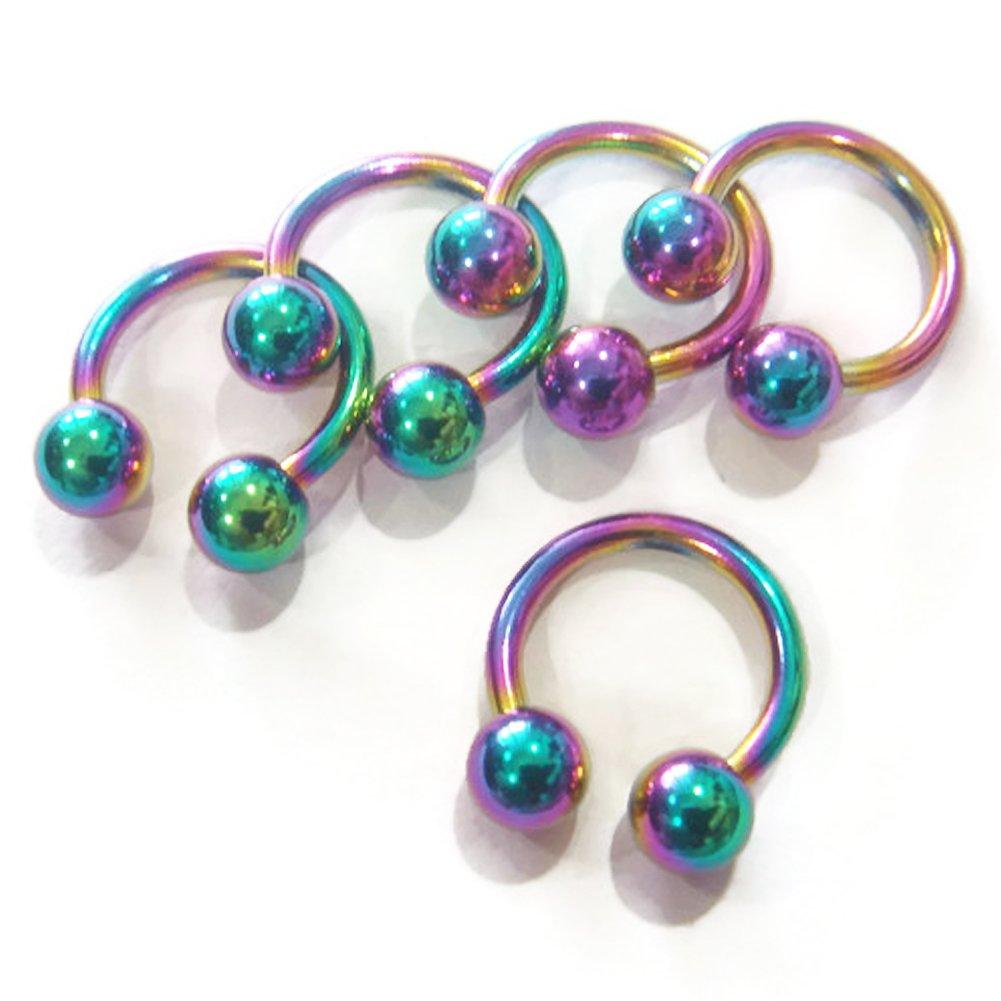14g LOT 5 Eyebrow Ear Rings Nostril Circular Bar Barbell Body Piercing Jewelry