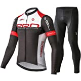 Mysenlan Men's Cycling Long Sleeve Breathable Jersey Set 3D Padded Long Pants Bike Shirt Bicycle Tights Clothing