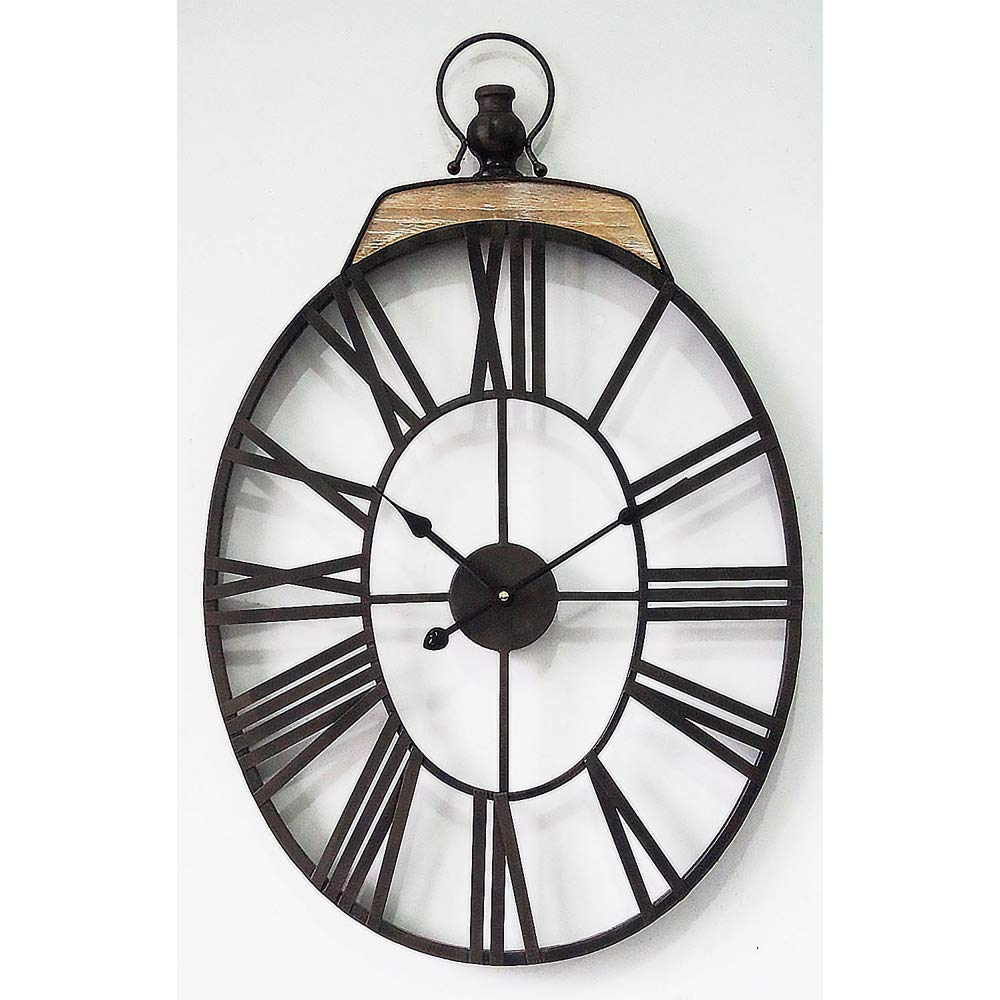 Oversized Dark Oval Metal Wall Clock with Handle Vintage Wall Clock Decorative for Home Decor 18 x 28 Inch MODE HOME