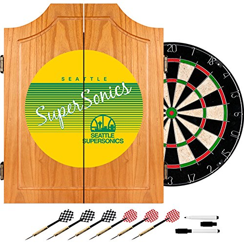 NBA Seattle SuperSonics Wood Dart Cabinet, One Size, Brown by Trademark Global