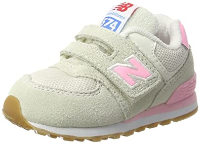 pink new balance 574 velcro trainer