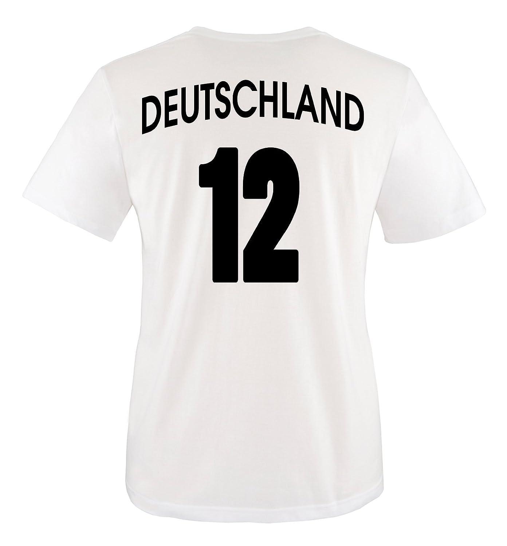 Rundhals Tshirt f/ür M/ädchen /& Jungen in Wei/ß Comedy Shirts Kinder Fu/ßball T-Shirt bedruckbar Deutschland Trikot in div Wunschname /& Nummer Gr/ö/ßen WM//EM//Deutschland