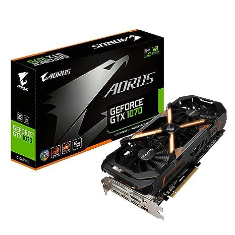 Gigabyte AORUS GeForce GTX 1070 8G GeForce GTX 1070 8GB GDDR5 - Tarjeta gráfica (NVIDIA, GeForce GTX 1070, 7680 x 4320 Pixeles, 1632 MHz, 1835 MHz, 8 ...