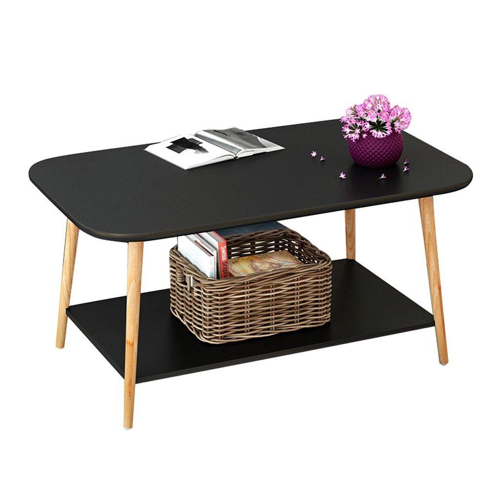 YCT コーヒーテーブルヨーロピアンスタイル2木製コーヒーテーブル小さなサイドテーブルソファサイドテーブルベッドルームベッドサイドテーブル棚 (Color : ブラック, サイズ : 80*48*49cm) B07RTB62GB ブラック 80*48*49cm