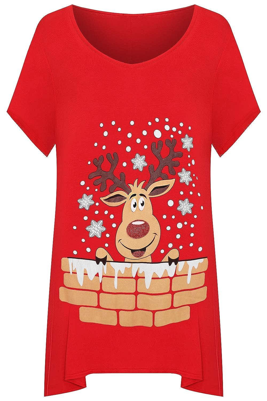 WearAll Women's Plus Short Sleeve Reindeer Snowflake Hanky Hem Long Top Ladies T-Shirt 14-28 89623