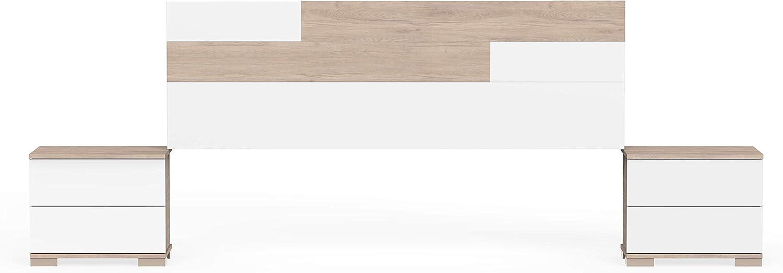 Muebles Pitarch Erika, Aglomerado de partículas y melanina de Alta Densidad, Aurora/Blanco, 105 x 212 x 36 cm/cabecero:55 x 170 x 1.6 cm mesitas:42 x ...