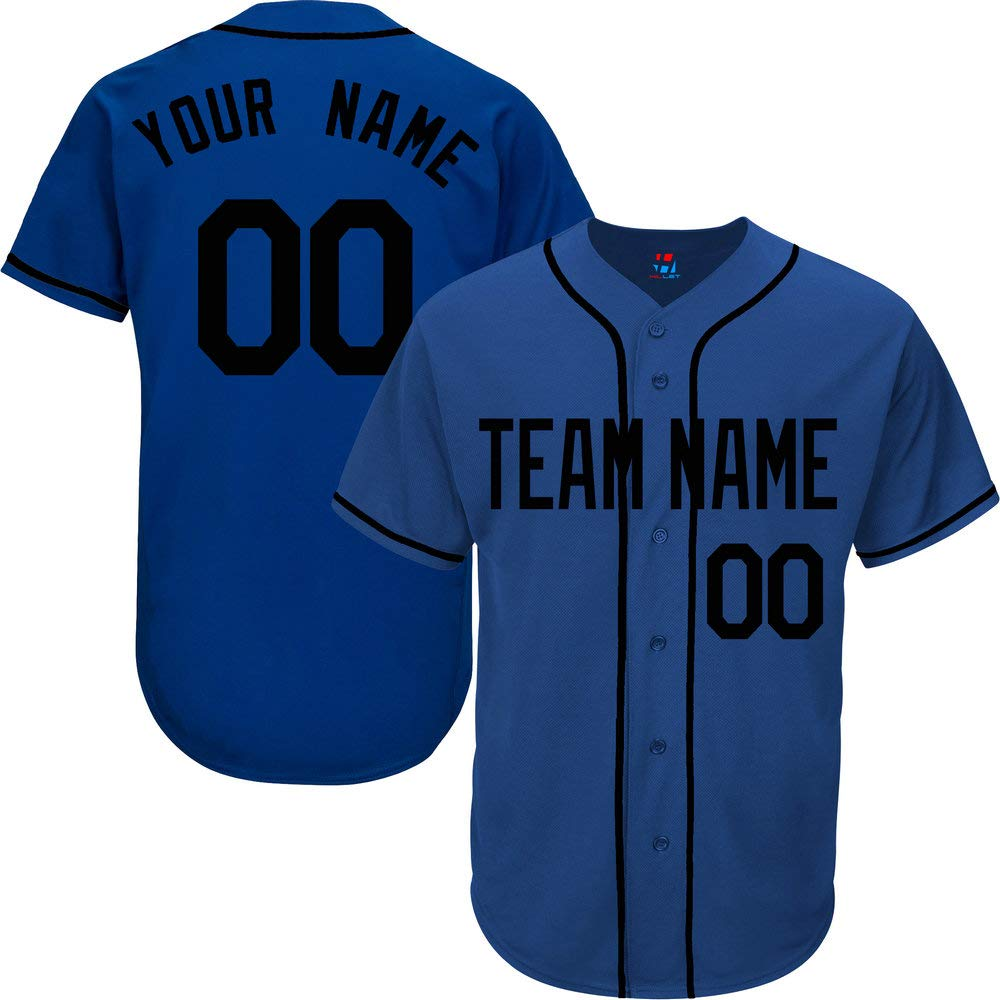 Royal Blue Custom Baseball Jersey for Men Big and Tall Practice Embroidered Your Name & Numbers,Black Size 7XL by Pullonsy