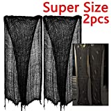 zhihu 2 PCS Super Size 180''-300'' Creepy Halloween Creepy Gray Black Purple White Cloth for Halloween Party Supplies & Decorations (300inch, Black)