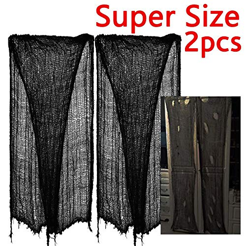zhihu 2 PCS Super Size 180-300 Creepy Halloween Creepy Gray Black Purple White Cloth for Halloween Party Supplies & Decorations Pack of 2 (300inch, Black)