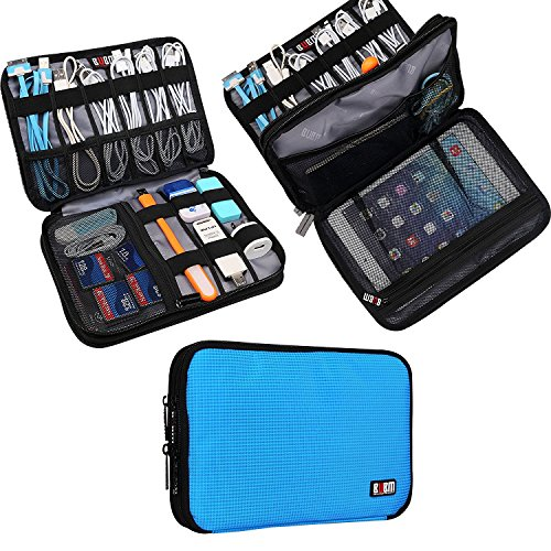 BUBM Double Layer Electronic Accessories Organizer, Travel Gadget Bag for Cables, USB Flash Drive, Plug and More, Perfect Size Fits for iPad Mini (Medium, Blue)