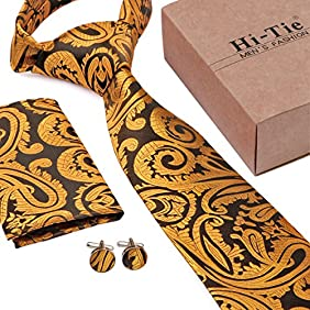 Hi-Tie New Classic Jacquard Paisley Silk Tie Set Best Gift for Father's Day