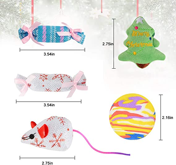 14.17 x 5.12 Inch 10 Pcs Christmas Tree Fireplace Decoration ZQYX Christmas Stocking Cat Gifts Set for Cat Kitty Gift Cat Festive Stocking with Interactive Toy Balls for Cats