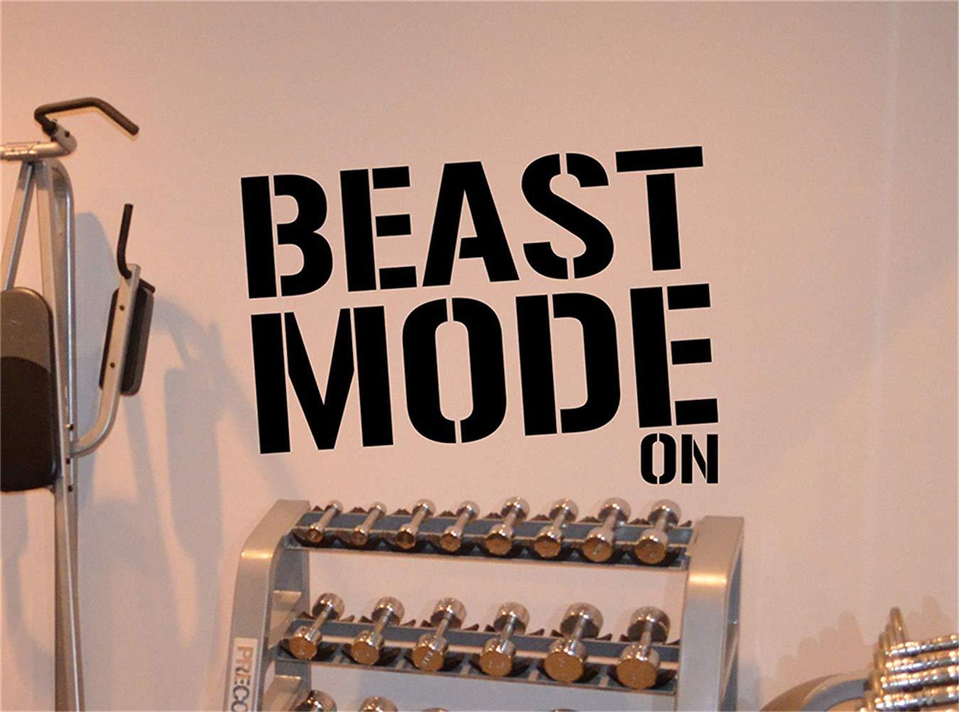 pegatinas de pared frases Beast Mode Gym Motivational Fitness ...